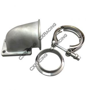 CX Racing T2 T25 T28 Turbo Stainless Steel 90 Deg Elbow Adapter Flange + 2.5