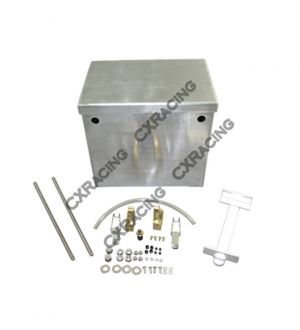 CX Racing Polished Aluminum Relocation Battery Box Kit, 12