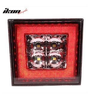 Ikon Motorsports Universal Square Clear LED Rear Tail Third 3RD Brake Lights Stop Safety Lamp