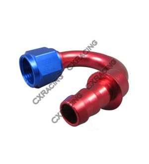 CX Racing AN8 -8AN 8AN 180 Degree Push On Loc Lock Socketless Fitting Hose End Adaptor