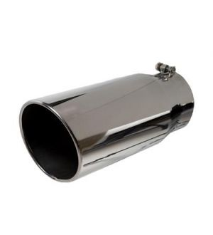 Bully Dog 5inch x 6inch x 12inch Polished 304 SS Angle Cut Rolled Tip Bolt on Any 5inch Dia Exhaust