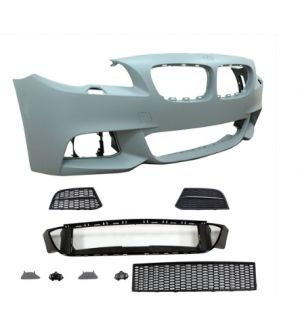 Ikon Motorsports Fits 14-16 BMW F10 LCI Mtech Front Bumper Rear Bumper Single Outlet