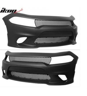 Ikon Motorsports Fits 15-19 Dodge Charger Front Bumper Cover & Fog Lights & Upper Lower Grilles