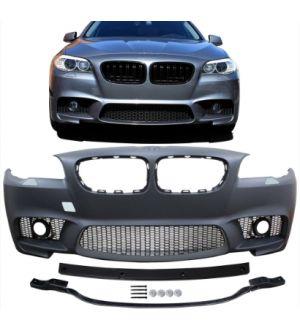 Ikon Motorsports Fits 14-16 BMW F10 LCI M5 Style Front Bumper W/ Foglight Cover + Rear Bumper