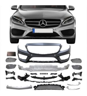Ikon Motorsports 15-18 Benz C-Class W205 AMG Style Front Bumper Conversion Cover - PP