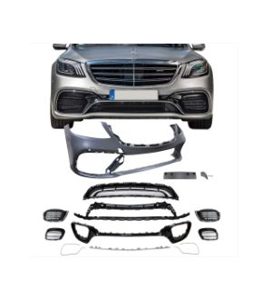 Ikon Motorsports 17-19 Benz W222 S550 S600 AMG Style Front + Rear Bumper Cover + Side Skirts