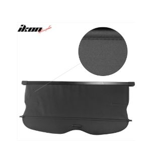 Ikon Motorsports 11-17 Jeep Grand Cherokee Black Rear Tonneau Cargo Cover Retractable -PU Leather