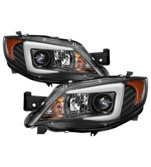 Subaru Impreza WRX 2008-2014 Projector Headlights - Halogen Model Only ( Not Compatible With Xenon/HID Model ) - Light Bar DRL - Black