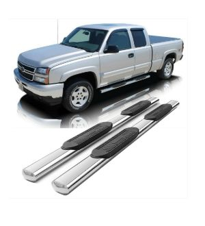 Ikon Motorsports Fits 99-18 Chevy Silverado & GMC Sierra Crew Cab 5 in Oval Side Running Boards