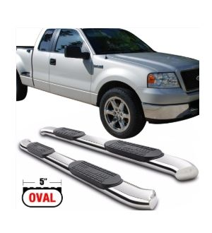 Ikon Motorsports Fits 04-08 F-150 Super Cab 5In SS Stainless Steel Side Step Bar Running Boards