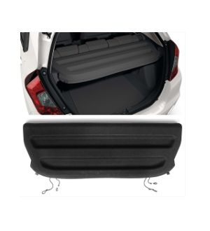 Ikon Motorsports 15-19 Honda Fit Tazz Style Tonneau Cargo Shade Cover Black-PU Leather