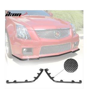 Ikon Motorsports Fits 09-15 Cadillac CTS V APE Style Front Bumper Lip Splitter Carbon Fiber
