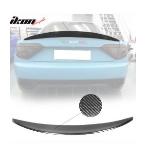 Ikon Motorsports Fits 12-14 Maserati Gran Tourism GT Coupe R Style Trunk Spoiler Carbon Fiber CF