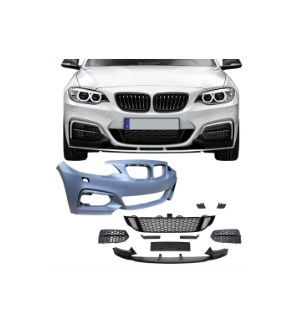 Ikon Motorsports Fits 14-19 BMW F22 F23 MP Style Front Bumper Cover Conversion W/ Mesh Cover