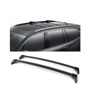 Ikon Motorsports 16-18 Honda Pilot Factory Style Aluminum Top Roof Rack Cross Bar Black