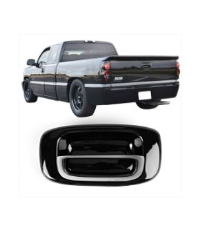 Ikon Motorsports 99-06 Silverado GMC Sierra Black Tail Gate Handle Cover No Keyhole ABS