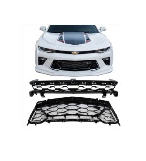 Ikon Motorsports Fits 16-18 Chevy Camaro 50th Anniversay Black Front Upper + Lower Grille 2Pc