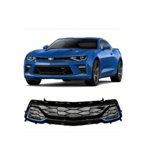 Ikon Motorsports Fits 2016 - 2019 Camaro 50th Anniversary Front Grille Painted Blue Me Away Metallic