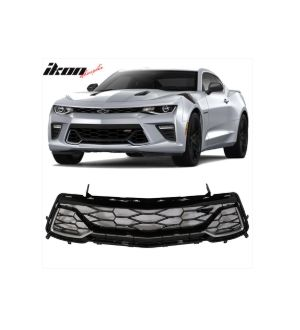 Ikon Motorsports Fits 2016 - 2019 Chevy Camaro 2-Door Front Grille Painted Switchblade Silver Metallic