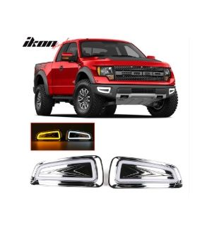 Ikon Motorsports 11-14 F150 Raptor LED White DRL Daytime Running Light Yellow Turn Signal