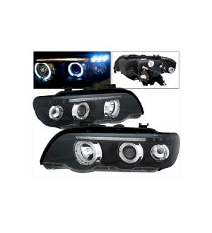 Ikon Motorsports 01-03 BMW E53 Dual LED Halo Projector Headlights Black Head Lamps