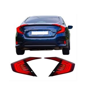 Ikon Motorsports 16-18 Honda Civic 10th Gen Red Tail Lights Turn Lights + Side Corner Lights