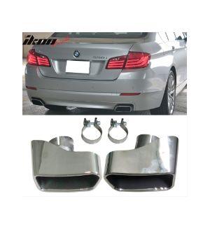 Ikon Motorsports 11-16 BMW F10 F11 F18 5 Series Exhaust Muffler Tip Chrome Stainless Steel