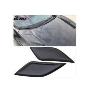 Ikon Motorsports Fit 16-20 Honda Civic 10th Gen V1 Style Hood Vents 2 Pcs Black ABS