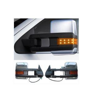 Ikon Motorsports 02-07 Silverado Towing Mirror Power Heat Signal Arrow Clearance Light Chrome 2PC