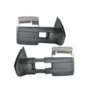 Ikon Motorsports 04-15 Ford F150 Towing Mirrors Power Heated Turn Signal Puddle Light Pair Chrome