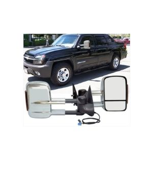 Ikon Motorsports 02-07 Chevy Silverado Towing Mirrors Power Heated Signal Arrow Light Chrome 2PC