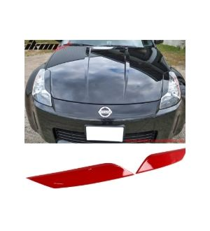 Ikon Motorsports 03-08 Nissan 350Z ABS Headlight Eyelids Eyebrows Cover Painted #AX6 Red