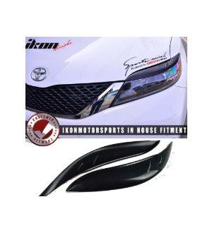 Ikon Motorsports 2011 - 2017 Toyota Sienna Unpainted Black ABS Headlight Eyelids Eyebrows Cover