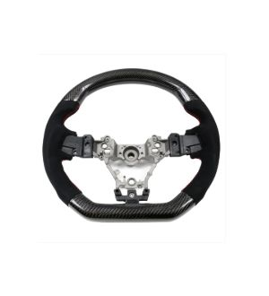 Ikon Motorsports Fits 15-19 Subaru WRX Steering Wheel CF & Alcantara & Red Stitching
