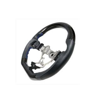 Ikon Motorsports Fits 15-19 Subaru WRX Steering Wheel CF + Perforated Leather + Blue Stitching