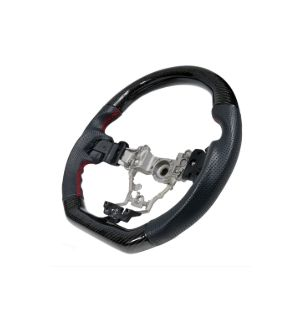 Ikon Motorsports Fits 15-19 Subaru WRX Steering Wheel CF + Perforated Leather + Red Stitching