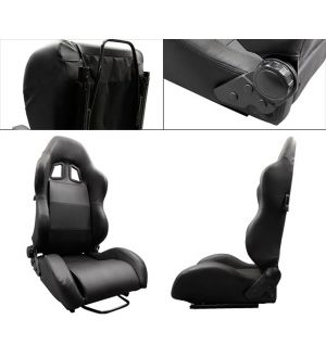 Ikon Motorsports Benz Black PVC Leather RS Style Racing Seat Seats & Rear Exit Lever