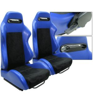 Ikon Motorsports Universal Black Blue PVC Leather Suede Reclinable Racing Seats Front One Pair