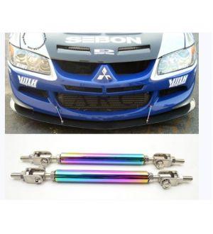 Ikon Motorsports Front Neo Chrome Stainless Steel Bumper Lip Splitter Rod Strut Bars 140mm-200mm