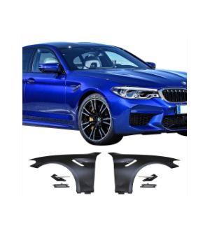 Ikon Motorsports 17-20 BMW 5-Series G30 G31 Metal Fenders W/ Chrome Reservoir Moulding
