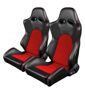 Braum Advan Series Racing Seats (Black & Red) - Universal