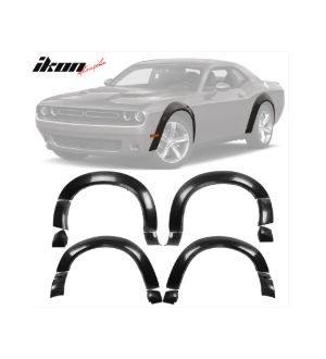 Ikon Motorsports 15-19 Dodge Challenger Base Model Fender Flares Demon Style Unpainted PP