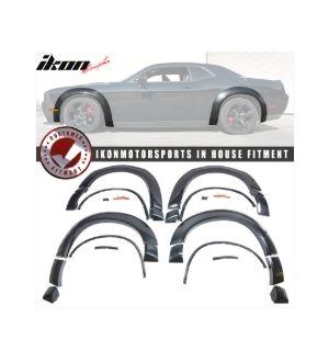 Ikon Motorsports 15-19 Dodge Challenger Hellcat Fender Flares Demon Style Unpainted PP