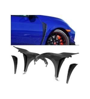 Ikon Motorsports 16-20 Honda Civic Type-R Style Steel Front Fender Flares Trim W/ Insert