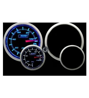 ProSport Oil Pressure Gauge Electrical w/Sender Blue/White 52mm