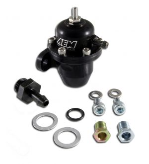 AEM Electronics Adjustable Fuel Pressure Regulator;Black;Acura and Honda Inline Flange with Straight Return Line