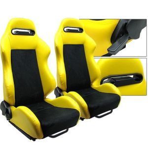 Ikon Motorsports Universal Black Yellow PVC Leather Suede Reclinable Racing Seats Front One Pair