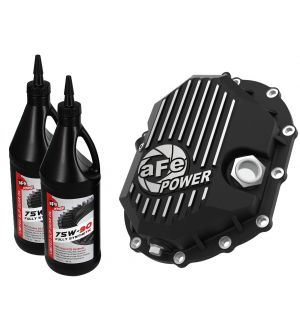 AFE Power 11-18 GM 2500-3500 AAM 9.25 Axle Front Diff Cover Black Machined w/ 2 Qts 75w90 Oil