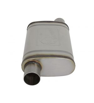 aFe MACH Force-Xp 409 SS Muffler 2.5in Offset Inlet/2.5in Offset Outlet 14in L x 9in W x 4in H Body