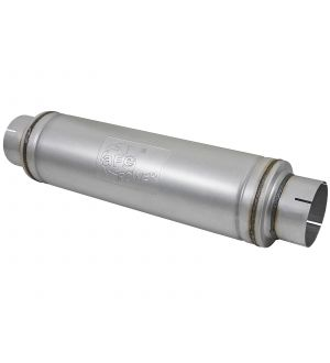 aFe ATLAS Aluminized Steel Muffler 5in Center/Center 24in L x 7in Diameter - Round Body